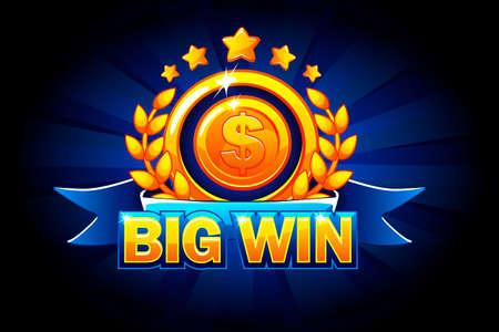Banner de Big Win con cinta azul y texto. Ilustración de vector de interfaz de usuario de casino, tragamonedas, ruleta y juego. Aislado en capas separadas