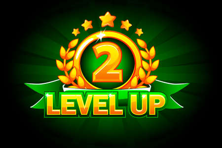 Level UP banner with green ribbon and text. Vector illustration for casino, slots, roulette and game UI. Isolated on a separate layers