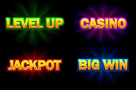 Texte brillant de vecteur Casino, Jackpot, Big Win et niveau supérieur. Icônes pour le casino, les machines à sous, la roulette et l'interface utilisateur du jeu Vecteurs