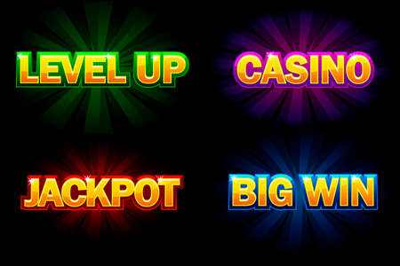 Vector shining text Casino, Jackpot, Big Win and level Up. Icons for casino, slots, roulette and game UI