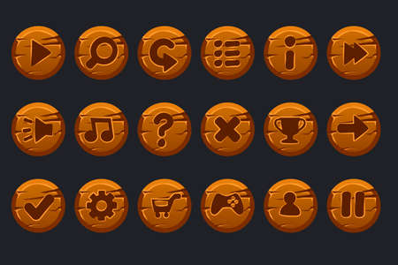 Vector game ui kit. Set of cartoon wooden circles buttons for graphical user interface GUI and 2D games. Isolated on a separate layers Иллюстрация