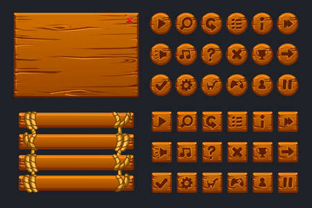 Game ui big kit. Template wooden menu of graphical user interface GUI and buttons to build 2D games. Isolated on a separate layers