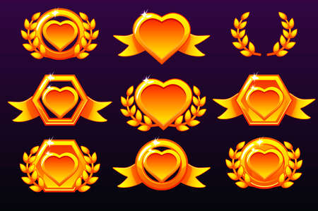 Hearts set. Gold templates for awards, creating icons for mobile games. Icons on separate layers. Vector concept gambling assets, set Mobile App Icons different forms and Laurel wreath of victory. Иллюстрация