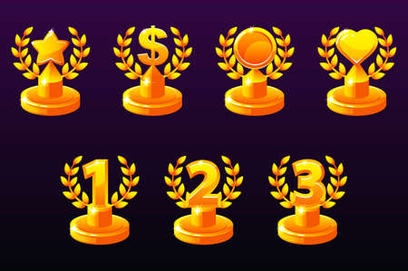 Trophies different variation. 1st, 2nd, 3rd place. Laurel wreath of victory, star, heart and dollar for game, ui, banner, app, interface, slots, game development Vector icons on a separate layer Иллюстрация