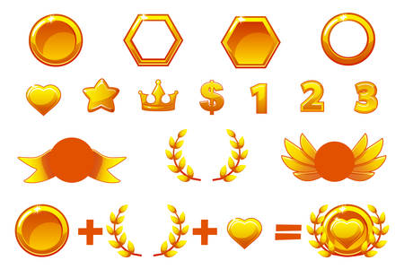 Awards Constructor, vector set to create kit different Medals or icons. For game, user interface, banner, application, interface, slots, game development. Objects on a separate layer