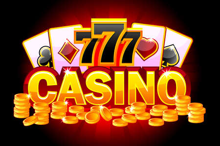 Casino red banner. Symbols poker, 777, Playing Cards and money. Vector illustration for casino, slots, roulette and game UI. Objects on a separate layer Иллюстрация