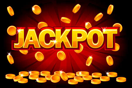 Jackpot and Falling from the top golden Coins. Vector Coin splash, rain money. Vector illustration for casino, slots, roulette and game UI. Objects on a separate layer Imagens - 125119642