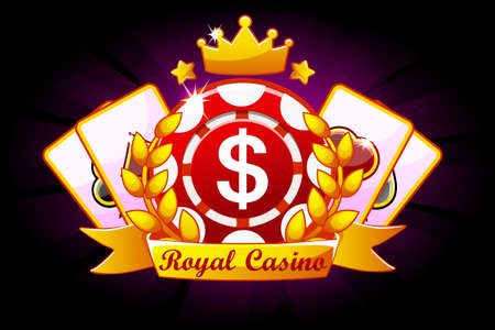 Casino Royale banner with ribbon and crown, icon and text. Symbols poker, 777, Playing Cards and game chip. Vector illustration for casino, slots, roulette and game UI. Objects on a separate layer Иллюстрация