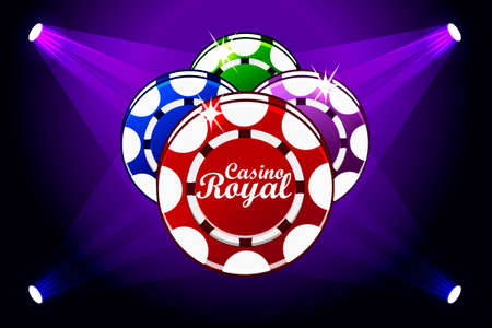 Casino Royale banner with lighting Icon Playing Chips. Vector symbols poker, icon and text. Illustration for casino, slots and game UI. Objects on a separate layer
