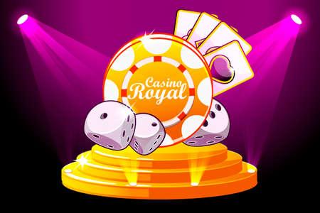 Banner de Casino Royale con iluminación Icon Playing Chip and Dice. Poker de símbolos vectoriales en la escena del podio del escenario. Ilustración para la interfaz de usuario de casino, tragamonedas y juegos. Objetos en una capa separada