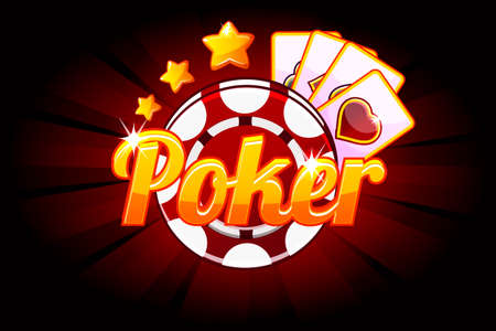 Poker banner with Icon Playing Cards and Chip. Vector symbols casino. Illustration for casino, slots and game UI. Objects on a separate layer Ilustrace