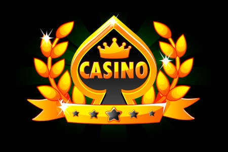 Casino and Playing Card Symbol. Vector Banner with ribbon and Laurel wreath, icon and text. Illustration for casino, slots and game UI. Objects on a separate layer