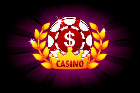 Casino banner with poker chip and crown, icon and text. Vector Symbols poker. Illustration for casino, slots and game UI. Objects on a separate layer