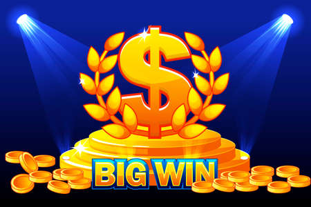 BIG WIN banner and sign DOLLAR award. Stack golden coins. Vector illustration for casino, slots, roulette and game UI. Objects on a separate layer