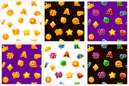 Slots icons set. Background with colored casino icons on black, seamless repeating pattern. Vector illustration. Ilustrace