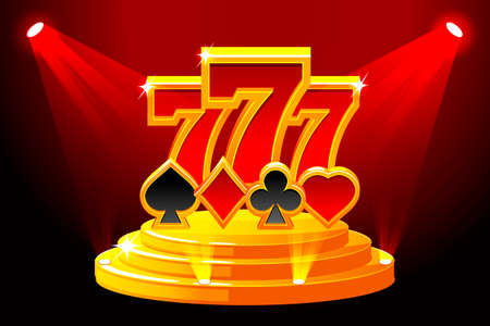 777 and Playing Card Symbols on Stage Podium. Vector illustration for casino, slots, roulette and game UI. Icons on separate layers. Illustration
