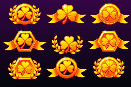 St Patrick golden Awards. Laurel wreath of victory and clove for mobile game, ui, banner, app, interface, slots, game development. Vector icons on a separate layer