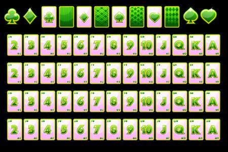 Cartes à jouer au poker de couleur verte. Vector plein pont et symboles de cartes pour les machines à sous et une loterie. Jeu de casino, machine à sous, interface utilisateur. Chaque objet sur un calque séparé