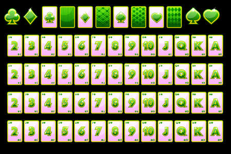 Poker playing cards in green color. Vector full deck and card symbols for slot machines and a lottery. Game casino, slot, UI. Every object on a separate layer