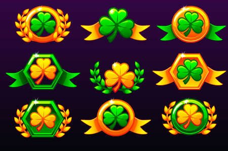 St Patrick Awards. Laurel wreath of victory and clove for mobile game, ui, banner, app, interface, slots, game development. Vector icons on a separate layer Illustration