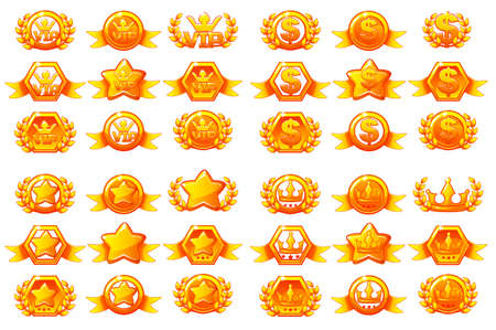 Awards large set, vctor creating icons for mobile games. Vector concept gambling assets, Mobile App Icons different forms and Laurel wreath of victory. Isolated on a separate layers.