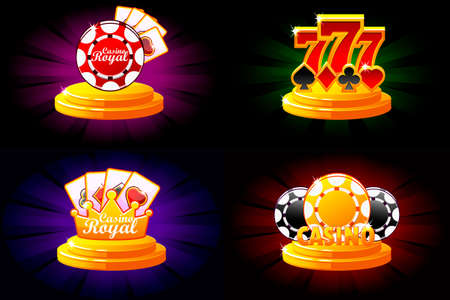 Casino and Poker icons. Symbols poker, 777, Playing Cards and game chip. Vector illustration for casino, slots and game UI. Objects on a separate layer
