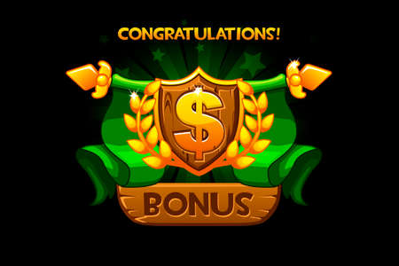 Receiving the cartoon achievement game screen. Vector Award Shield icon. Dollar sign. For game, user interface, banner, application, game development. Objects on a separate layer.