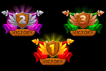 Game rating icons with Shields and ribbons. For game, user interface, banner, application, game development. 1,2,3 place icon. Isoled on a separate layer