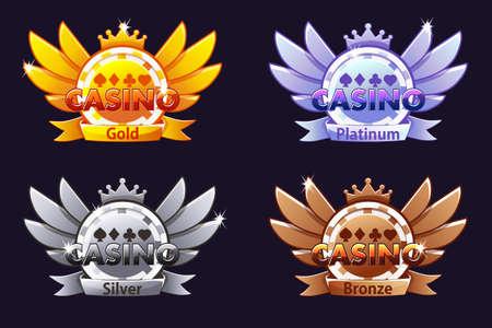 Premios del casino. Iconos de clasificación de casino con fichas de póquer y corona. Ilustración de vector de interfaz de usuario de casino, tragamonedas y juegos. Objetos en una capa separada