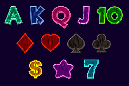 Set Slot machine icons. Vector gaming icons of card symbols for slot machines or casino in wooden texture. Game casino, slot, UI. Isolated on a separate layers.