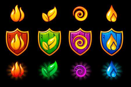 Four elements nature icons, wooden Shield set. Wind, fire, water, earth symbol. Objects on a separate layer Illustration