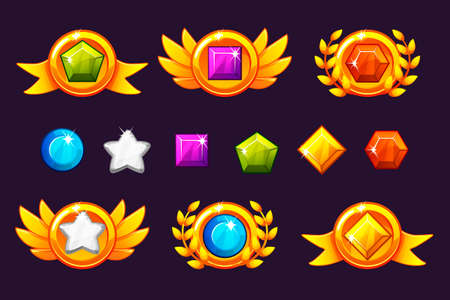 Receiving achievement Awards coin and Gems set, different Awards. For game, user interface, banner, application, interface, slots, game development. Vector objects on a separate layer. Illustration