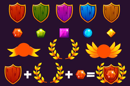Awards Shield and Gems set, Constructor to create kit different Awards. For game, user interface, banner, application, interface, slots, game development. Vector objects on a separate layer. Illustration