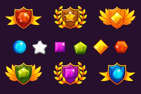 Obtención de premios por logros Conjunto de escudo y gemas, diferentes premios. Para juegos, interfaz de usuario, banner, aplicación, interfaz, tragamonedas, desarrollo de juegos. Objetos vectoriales en una capa separada.