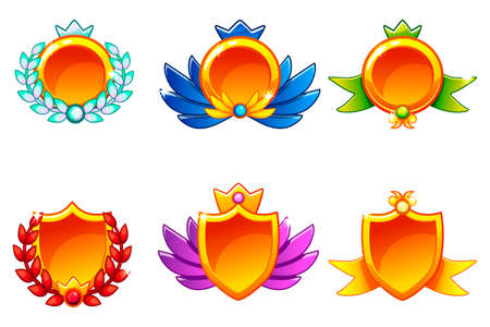 Receiving achievement, vector templates Awards. For game, user interface, application, interface, slots, game development.