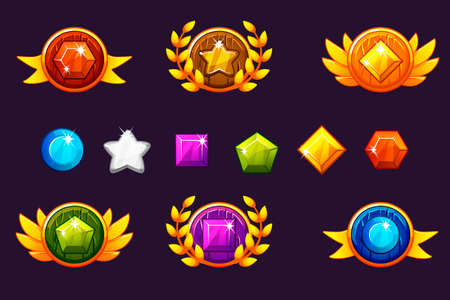 Receiving achievement Awards round Shield and Gems set, different Awards. For game, user interface, banner, application, interface, slots, game development. Vector objects on a separate layer. Illustration