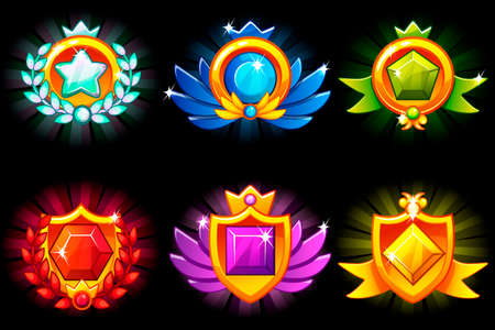 Receiving achievement, vector templates Awards and precious stone. For game, user interface, banner, application, interface, game development. Icons on a separate layer