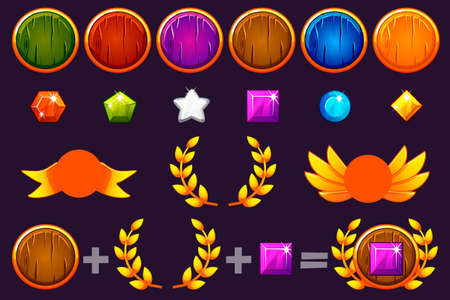 Awards round Shield and Gems set, Constructor to create kit different Awards. For game, user interface, banner, application, interface, slots, game development. Vector objects on a separate layer.