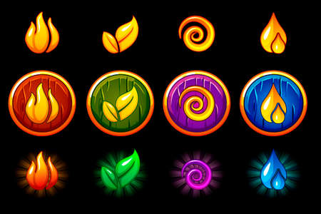 Four elements nature icons, wooden round Shield set. Wind, fire, water, earth symbol. Objects on a separate layer