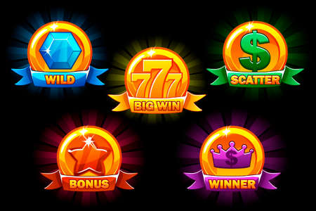 Slots icons, collections wild, bonus, catter and winner symbols. For game, user interface, application, interface, slots, game development. Icons on a separate layer