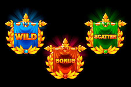 Slots icons, collections symbols wild, bonus and scatter. For game, user interface, application, interface, slots and 2D game development. Icons on a separate layer Illustration
