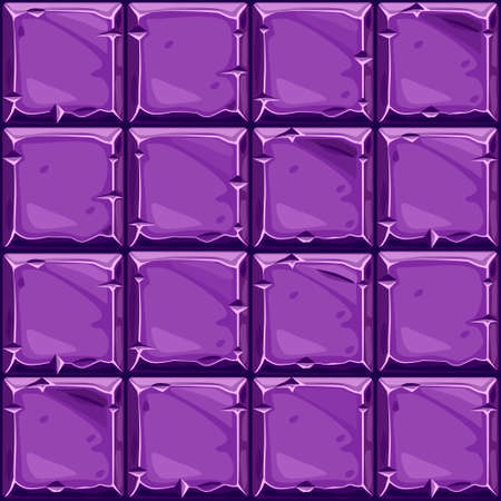 Seamless texture of purple square stone, vector background stone wall tiles. Illustration for user interface of the game element