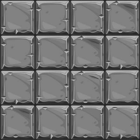 Seamless texture of gray square stone, vector background stone wall tiles. Illustration for user interface of the game element