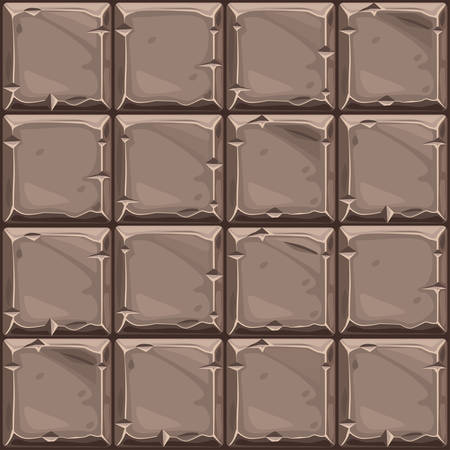 Seamless texture of brown square stone, background stone wall tiles. Vector illustration for user interface of the game element