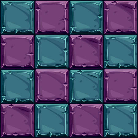Seamless texture of purple stone, vector background stone wall tiles. Illustration for user interface of the game element Ilustrace