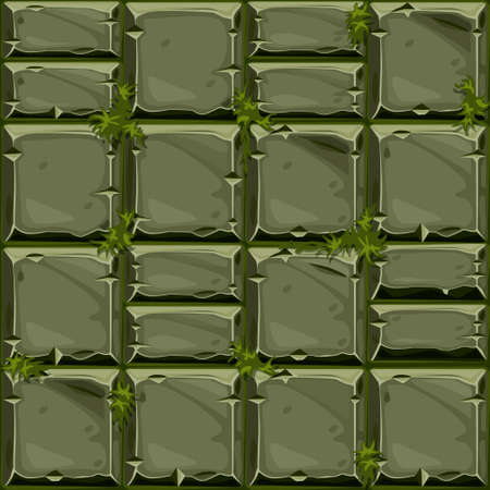 Seamless texture of green stone on grass, vector background stone wall tiles. Illustration for user interface of the game element Ilustrace