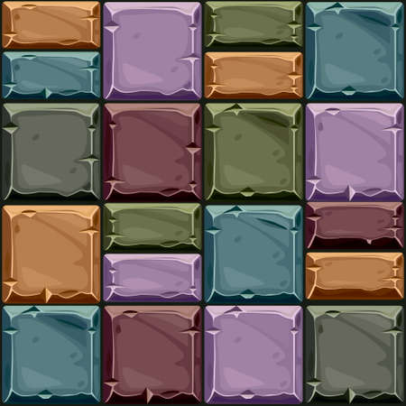 Seamless texture of colored square stone, vector background stone wall tiles. Illustration for user interface of the game element