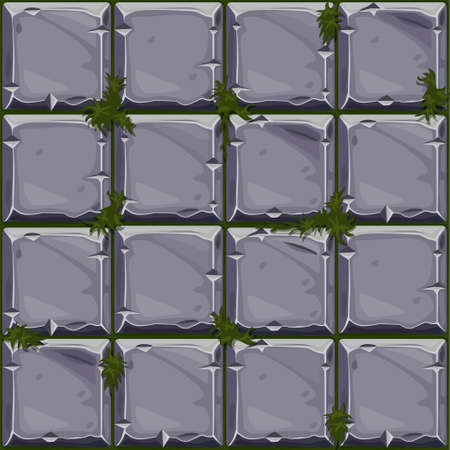 Seamless texture of stone on grass, background stone wall tiles. Vector illustration for user interface of the game element Illustration