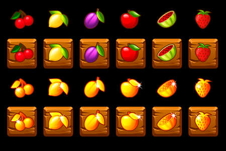 Fruits slots icon set on wooden square. Game casino, slot, UI. Icons on separate layers.