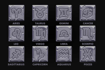 Astrology Signs On stone button, set 12 Zodiac Stock Illustratie